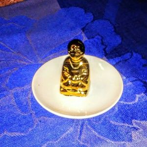 White n gold buddha jewelry dish